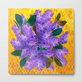 Spring Lilac Floral Bouquet Gold Patterns Metal Print