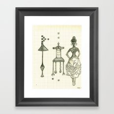 Lamp Chair Woman Framed Art Print