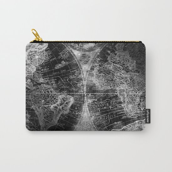 Antique Map Space Stars Black and White Carry-All Pouch