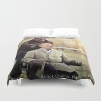 """obama Duvet Covers featuring Putin And Obama in """"Les Intouchables"""" by Luigi Tarini"""