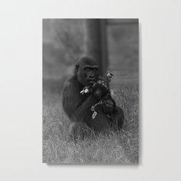 Cheeky Gorilla Lope Mono Metal Print