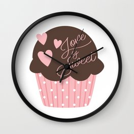 Love is Sweet Cupcake Wall Clock