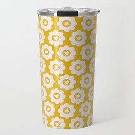 Canary Yellow Retro Floral Travel Mug