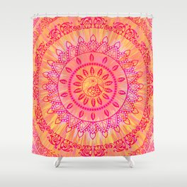 Mandala Orange Pink Spiritual Zen Hippie Bohemian Yoga Mantra Meditation Shower Curtain