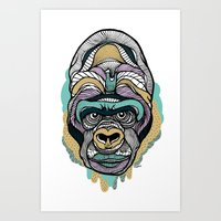 gorilla Art Prints featuring Gorilla by casiegraphics