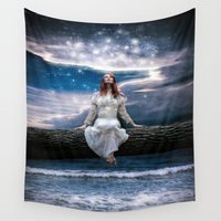 neverland Wall Tapestries featuring Wishing for Neverland by Spoken in Red