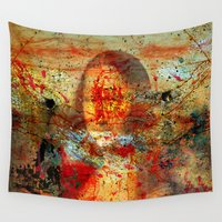 da vinci Wall Tapestries featuring Leonardo da Vinci Abstract  by  Agostino Lo Coco