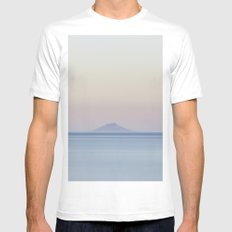Island silhouette on horizon at sunset Mens Fitted Tee White MEDIUM