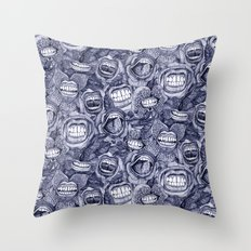 BITE ME roses and orchids INDIGO Throw Pillow