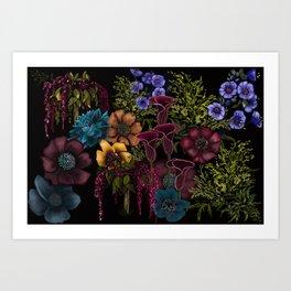 Moody Florals Art Print