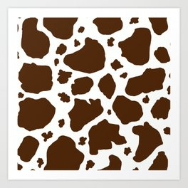 cow spots animal print dark chocolate brown white Art Print