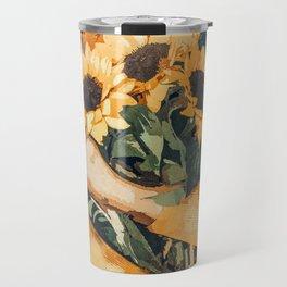 Holding Sunflowers #society6 #illustration #nature #painting Travel Mug