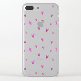 Pink hand painted watercolor romantic hearts pattern Clear iPhone Case