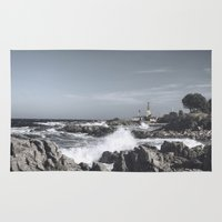 religious Area & Throw Rugs featuring The wild sea by UtArt