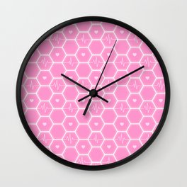 Love is everywhere at the Valentine's Day - Futuristic Heartbeat Hexagonal Tile Pattern & Pink Hearts 7  Wall Clock