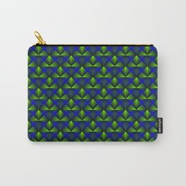 Chaotic pattern of green rhombuses and blue pyramids. Carry-All Pouch