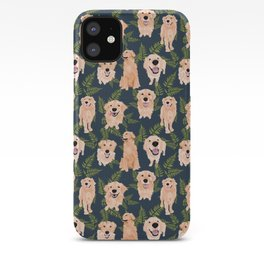 Golden Retrievers and Ferns on Navy iPhone Case