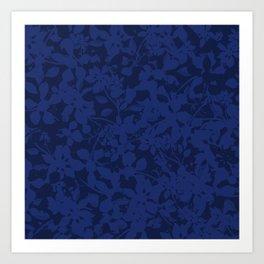Blue on Blue - Broken but Flourishing Botanical Pattern Art Print