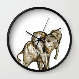 Baby Elephant Blue Wall Clock