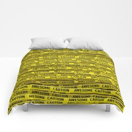 AWESOME, use caution / 3D render of awesome warning tape Comforters