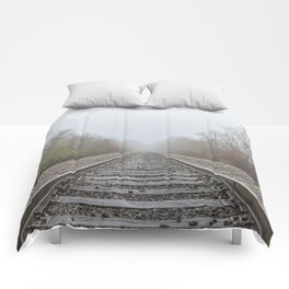 Spring time railroad tracks Comforters