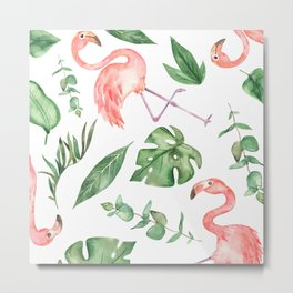 Flamingos Amongst The Leaves Watercolor Metal Print