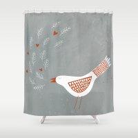 la Shower Curtains featuring La la la by Nic Squirrell