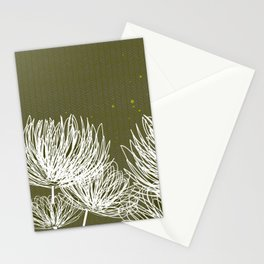 Olive Doodle Floral by Friztin Stationery Cards