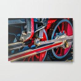 Wheels, Rods, Gear Of A Vintage Steam Locomotive Engine Metal Print