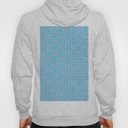 Vintage blue orange white geometrical damask Hoody