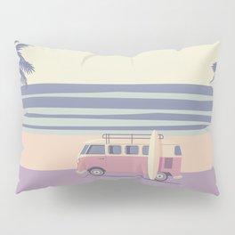 Surfer Graphic Beach Palm-Tree Camper-Van II Pillow Sham