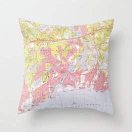 Dennis and Yarmouth Massachusetts Map (1974) Throw Pillow