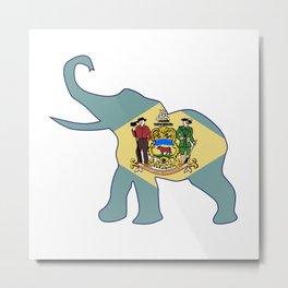 Delaware Republican Elephant Flag Metal Print