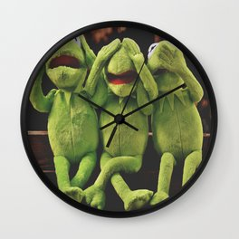 Funny Kermit Frog : Not Hear Not See Do Not Speak Wall Clock