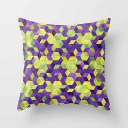 Triaxial Blossoms and Dots Throw Pillow
