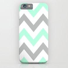MINT & GRAY CHEVRON Slim Case iPhone 6