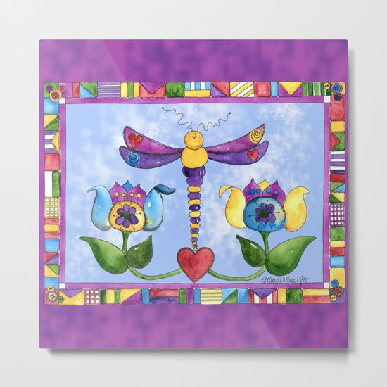 Dragonfly Love with Border Metal Print