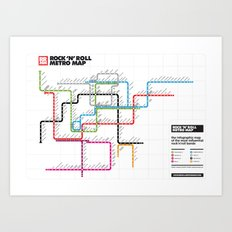 Rock'n'Roll Metro Map Art Print