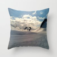 iceland Throw Pillows featuring Snowcapped Iceland by tyler Guill
