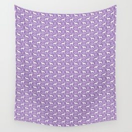 Australian Cattle Dog minimal floral silhouette pattern lavender and white dog art Wall Tapestry