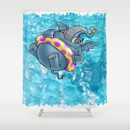 Elephant jumping into the swming pool Shower Curtain