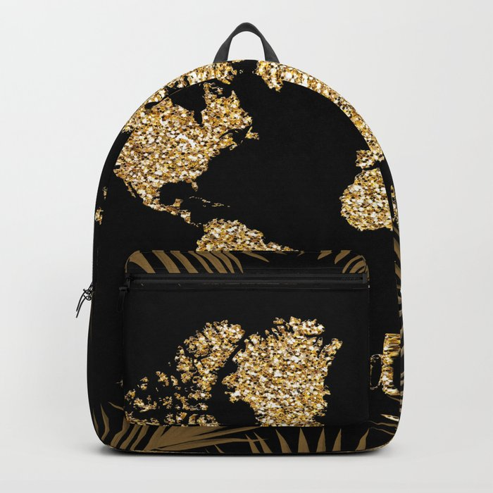 world map gold black Rucksack
