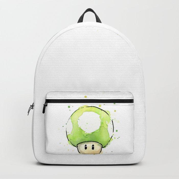1UP Green Mushroom Painting Mario Gaming Geek Videogame Art Backpack