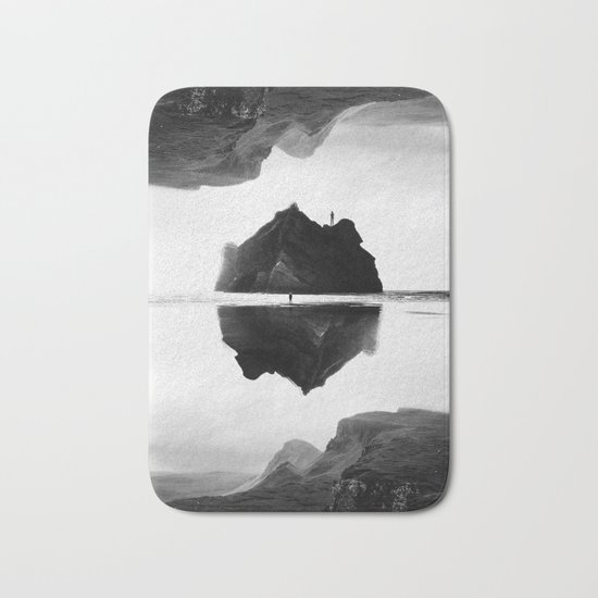 Black and White Isolation Island Bath Mat