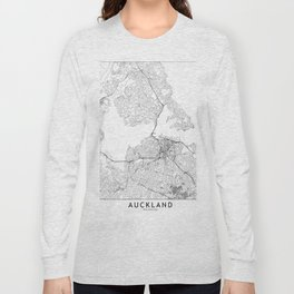 Auckland White Map Long Sleeve T-shirt