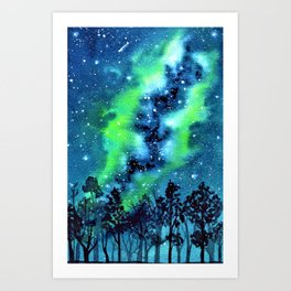 Green and Blue galaxy watercolor painting Art Print