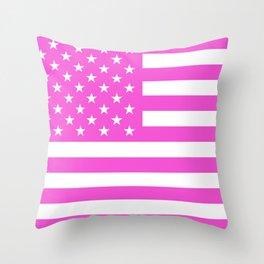 U.S. Flag: Pink Throw Pillow