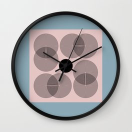 Abstract Floral Geometric Minimalist Graphic Pink Blue Wall Clock