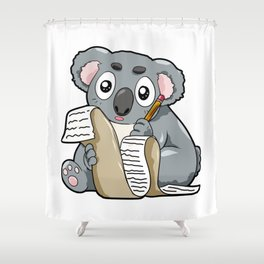 Writing Koala Cute Bill Author Writer Pencil Comic Shower Curtain
