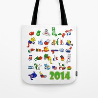 world cup Tote Bags featuring WORLD CUP KITTEHS 2014 by Helenasia